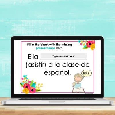 present tense verb task cards for google slides