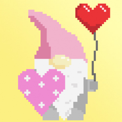 Valentine's day gnome and hearts