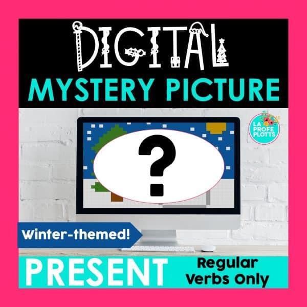 present tense digital mystery picture activity, pixel art