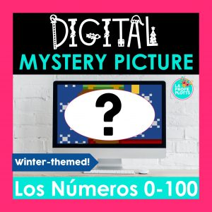 Spanish numbers 0-100 mystery picture, pixel art