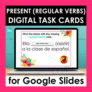 regular present tense verbs Google Slides cover