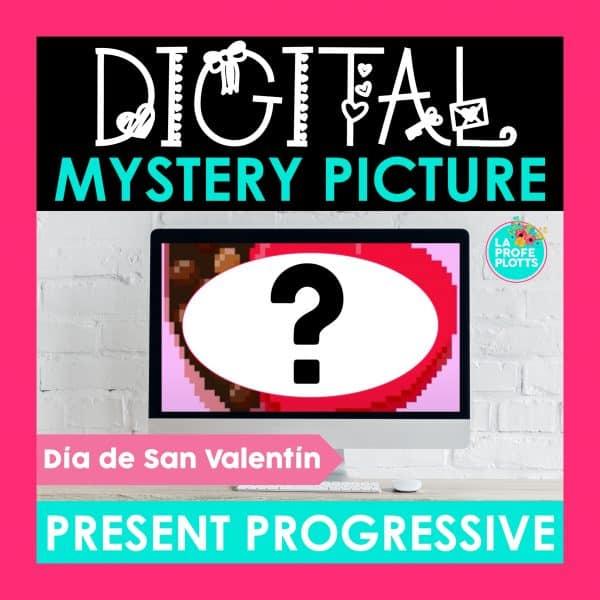 present progressive digital mystery picture cover, pixel art